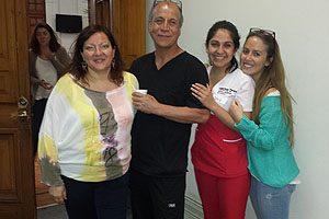 Mat. Ingrid Machting y Prof. Juan Ortiz, con las internas Constanza Pereira y Daniela Fierro.