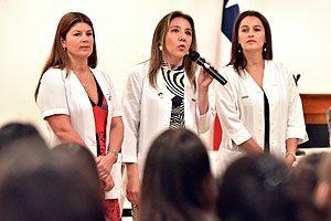EU Irella Vergara, EU Pamela Torres y EU Ingrid Allers.