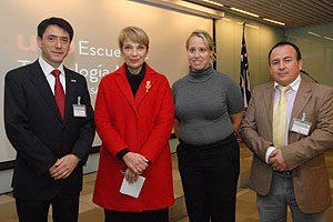 TM Mg Erwin Landskron, Prof. Yasna Carrión, Sarah King y TM Mg Pedro Cortés.